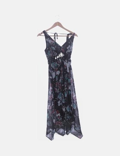 Vestido de gasa negro print floral