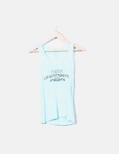 Top bleu imprimé à bretelles LuluCastagnette
