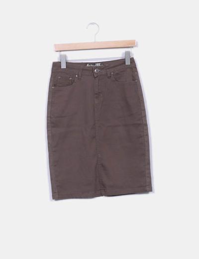 03865060cc7 MAS fashion Falda denim elástica marrón (descuento 96 %) - Micolet