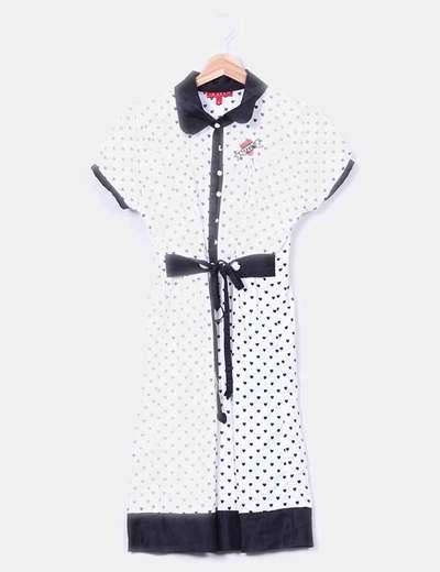 Vestido blanco y negro print corazones  10 Feet