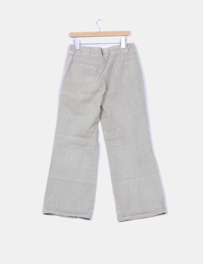 Pantalon beige pata ancha