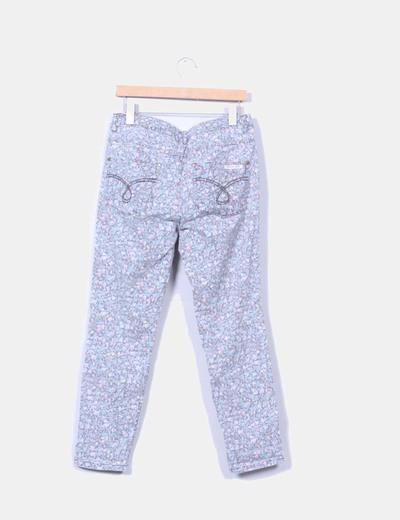 Pantalon gris floral