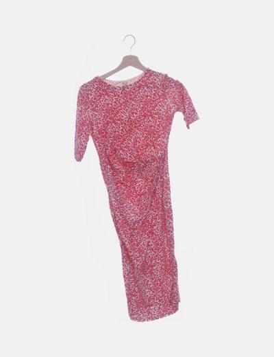 Vestido entallado print blando y rosa