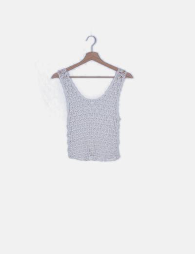Top crochet blanco detalle perlas