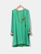 Vestido verde con detalles de colores y plateados en mangas Nuribel