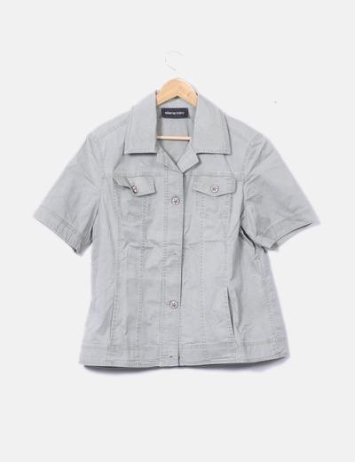 Camisa denim verde de manga corta