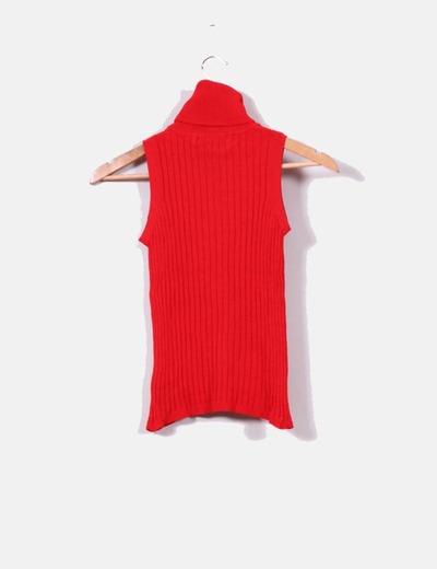 9d1ff53b2c17 Zara Top punto canalé rojo de cuello cisne (descuento 86 %) - Micolet