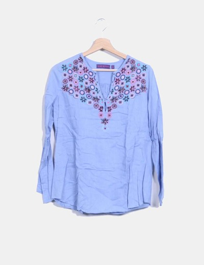Camisa azul con abalorios  Peace And Love