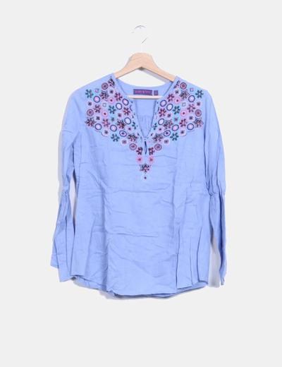 Camisa azul con abalorios  Peace And Love