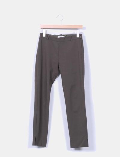 Pantalón sarga verde oscuro Mango