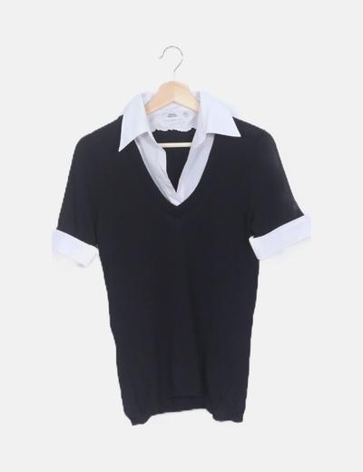 Jersey negro cuello manga camisa