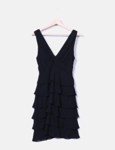 Vestido negro de seda con volantes Naf Naf