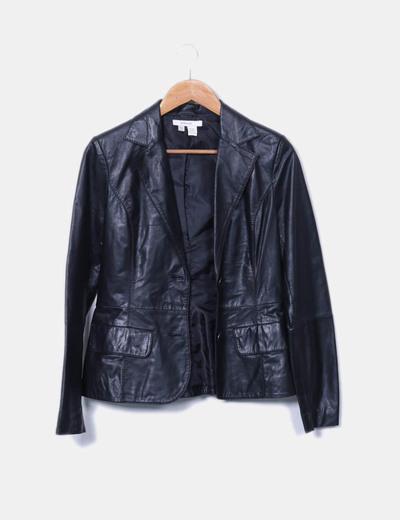 Blazer de cuero negra Zara