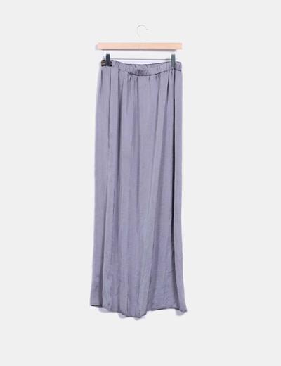 Falda larga gris tacto seda