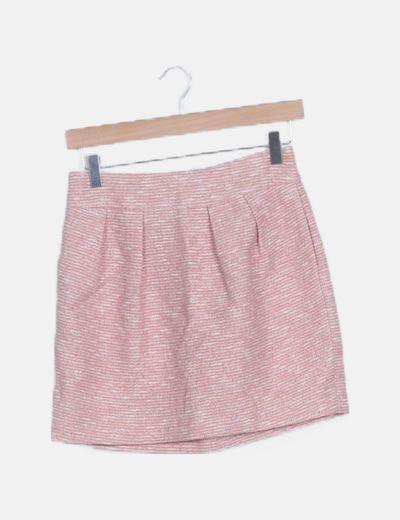 Falda mini evasé texturizada rosa