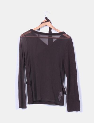 Jersey tricot marron combinado
