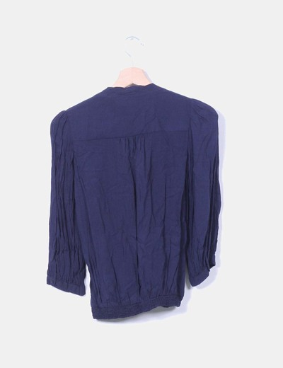 Blusa azul marina drapeada
