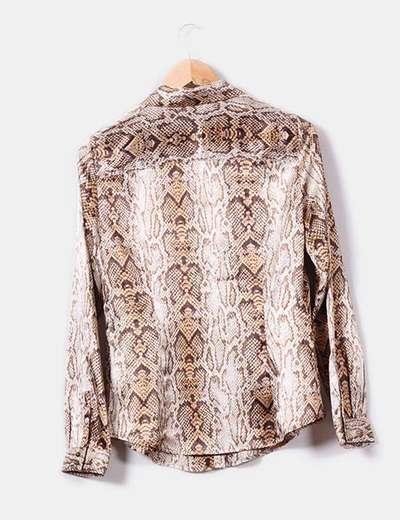 artesanía exquisita gran inventario muy agradable Camisa satinada print serpiente