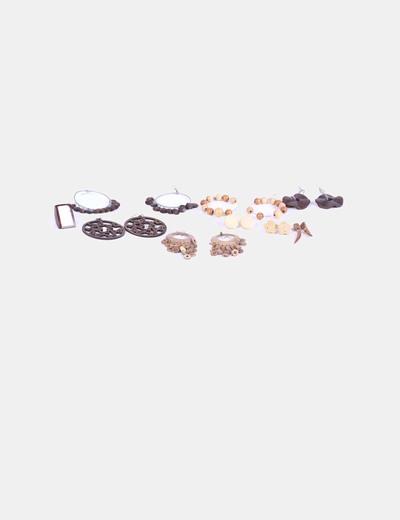 Conjunto 8 pares de pendientes de madera y anillo NoName