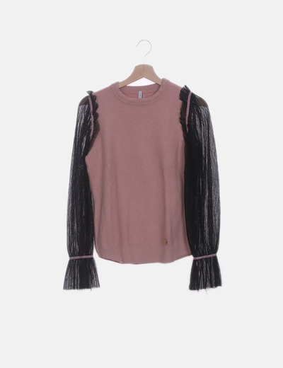 Jersey de punto rosa mangas semitransparentes