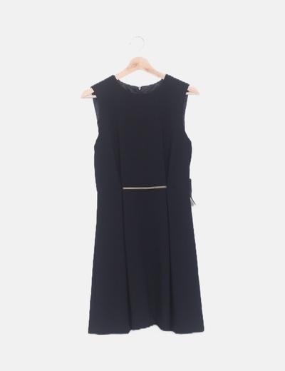Vestido negro detalle metalizado