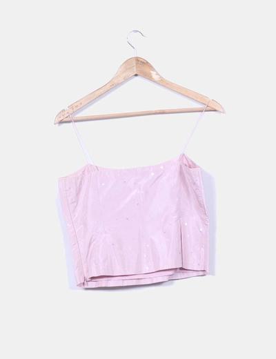 Top rosa de seda con paillettes
