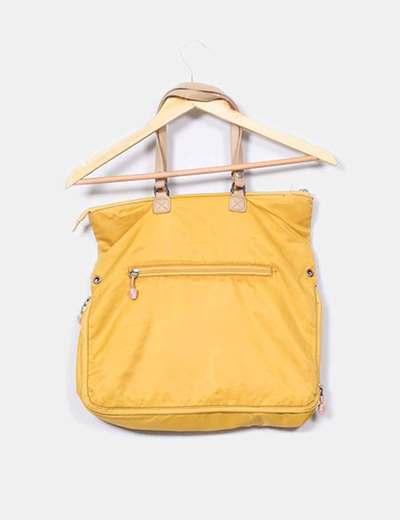 Bolso amarillo asas beige