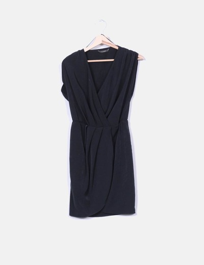 Vestido negro fluido cruzado Suiteblanco
