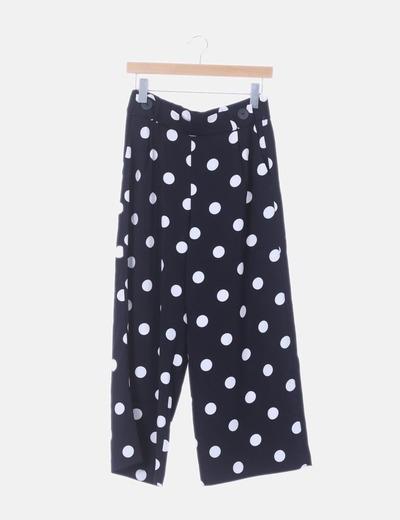 Pantalón fluido negro con motas blancas