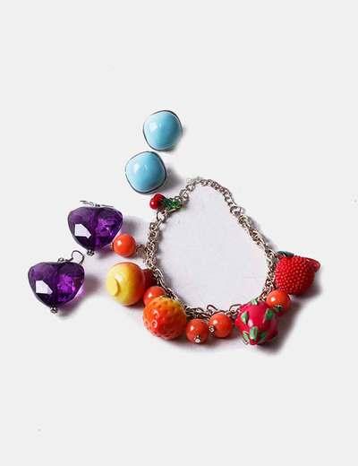 Conjunto de brincos e pulseira combinados NoName