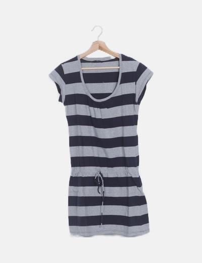 Vestido gris rayas azul marino manga corta
