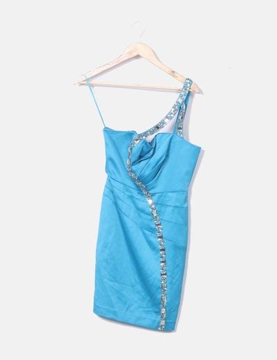 Vestido turquesa con pedrería