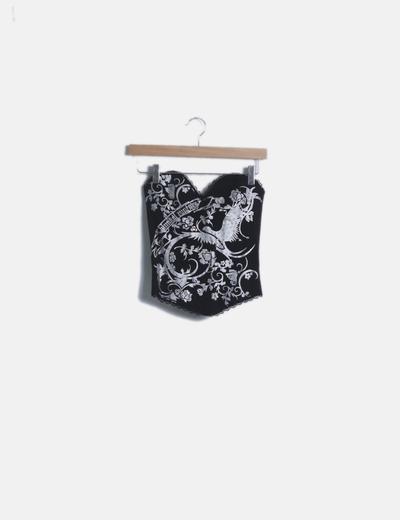 Corset negro print plateado glitter