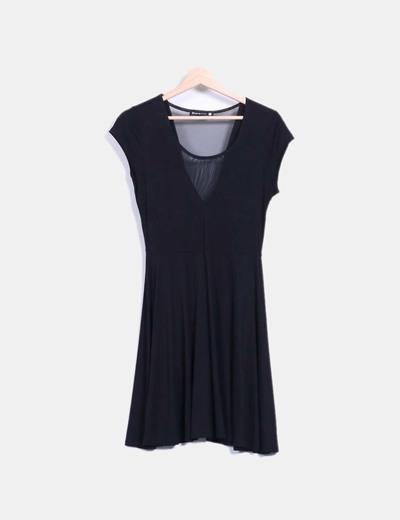 Vestido negro escote tul Shana