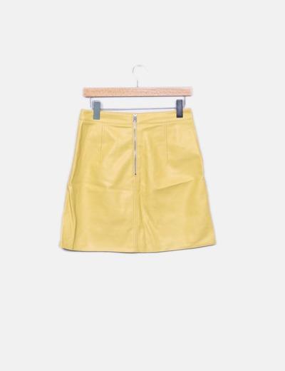 ac27fca2b3 Zara Falda amarilla polipiel (descuento 76%) - Micolet