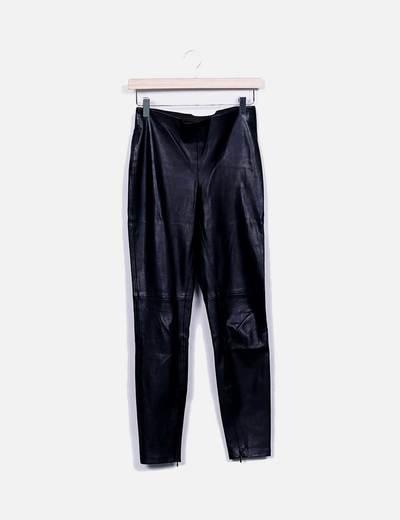 Calça de couro preta Zara