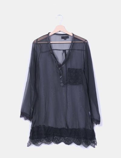 Blusa negra semitransparente Julie