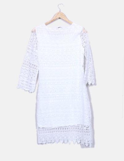7a2fa55db El Corte Inglés Vestido crochet blanco (descuento 76%) - Micolet