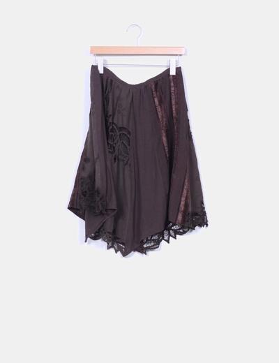 Falda midi combinada crochet marrón chocolate NoName