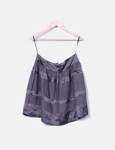 Mini-jupe noire satin VILA