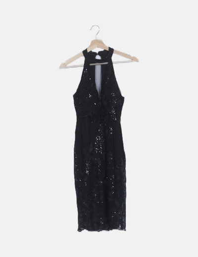 Vestido choker negro con paillettes