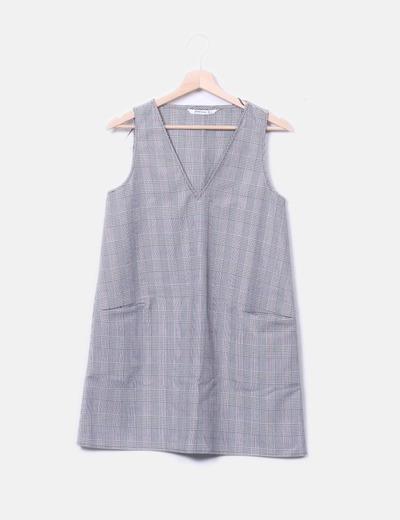 Vestido recto gris cuadros