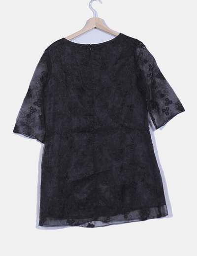Vestido combinado organza negro