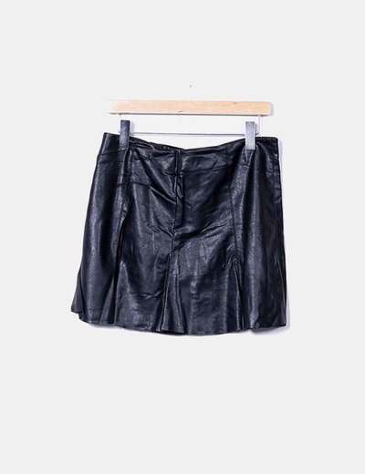 Jupe noire en simili-cuir Sfera