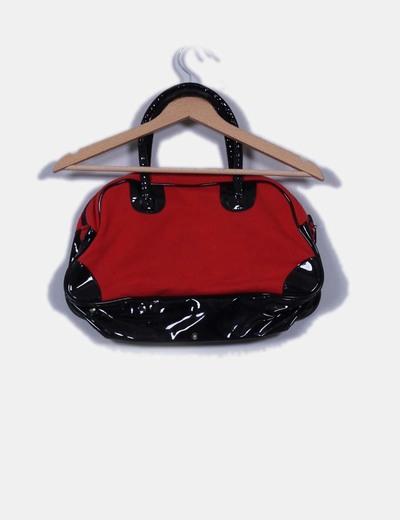 Bolso rojo y negro detalle acharolado