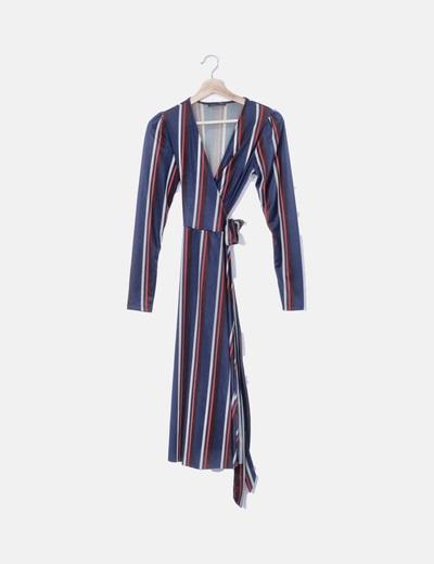 Maxi vestido cruzado azul raya