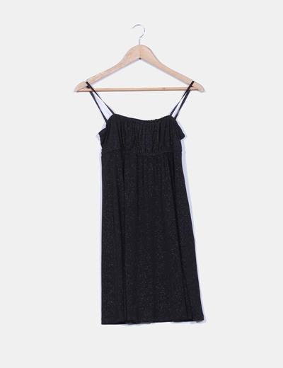 Vestido negro con brillos Pimkie