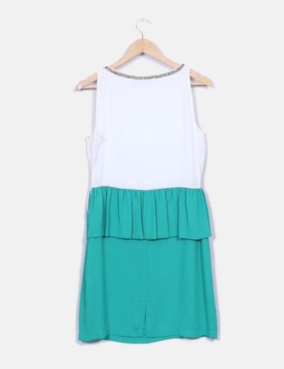 Vestido bicolor con pedreria