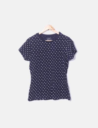 Camiseta azul marina topos