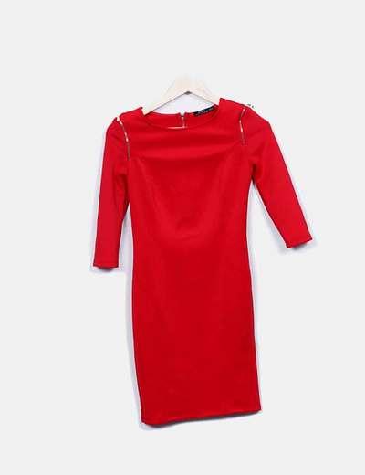 Vestido elástico rojo con cremalleras